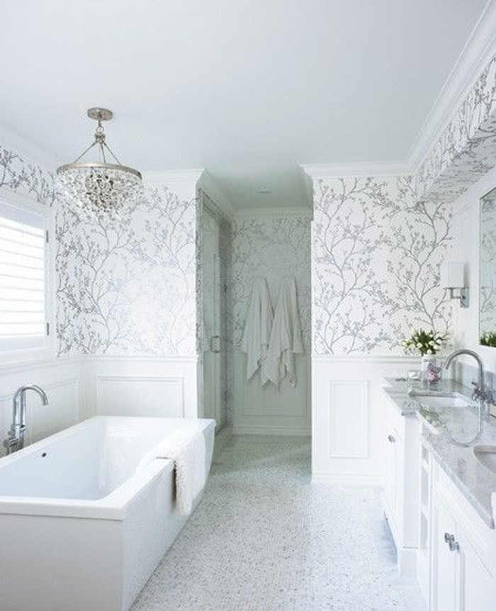 Bathroom Wallpaper Schumacher Twiggy in Silver (Jennifer Worts Design)