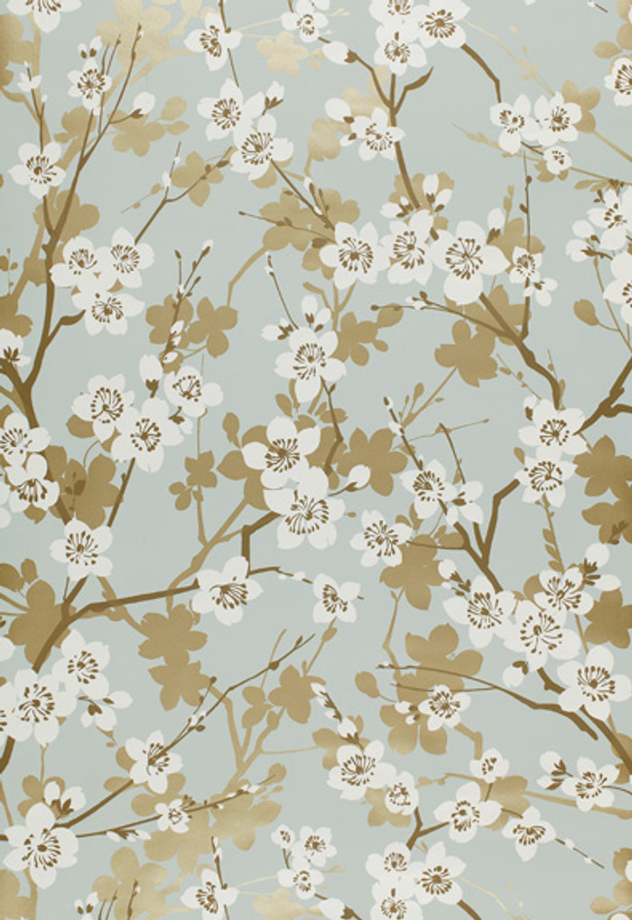 Schumacher Ming Cherry Blossom Wallpaper in Aqua