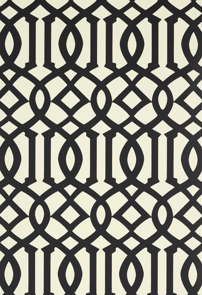 Schumacher Kelly Wearstler Imperial Trellis II Jet Wallpaper