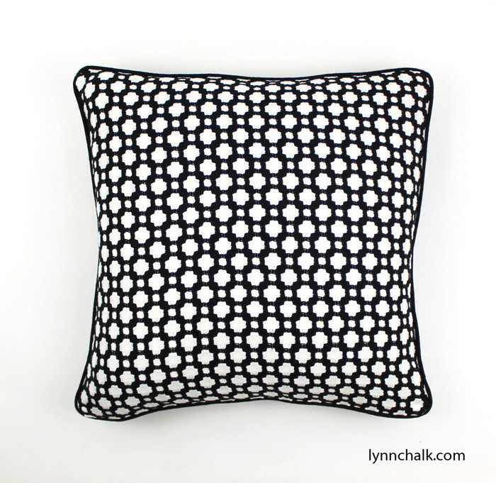 Celerie Kemble Betwixt in Black & White 20 X 20 Pillow with Black Linen Welting