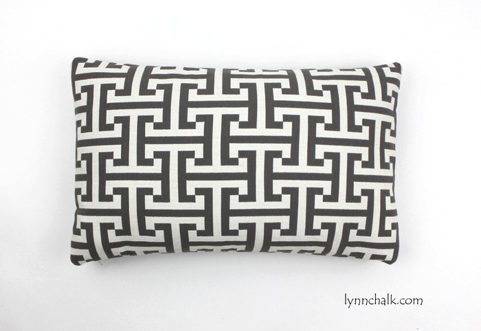 "Custom Pillow by Lynn Chalk in Holly Hunt Insigna Cream/Iron 124/03 (12"" X 20"")"