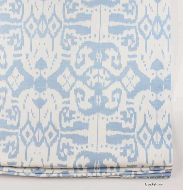 Custom Roman Shade by in Quadrille China Seas Island Ikat (Shown in Zibby Blue - Comes in many colors)