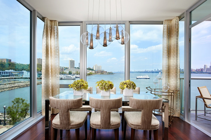 Drapes in Weitzner Isis Ombre in Creme (Ombre Stripe is horizontal).  (Linda Ruderman Interiors)