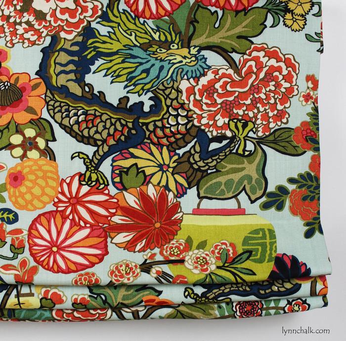 Custom Roman Shade by Lynn Chalk in Chiang Mai Dragon Aquamarine