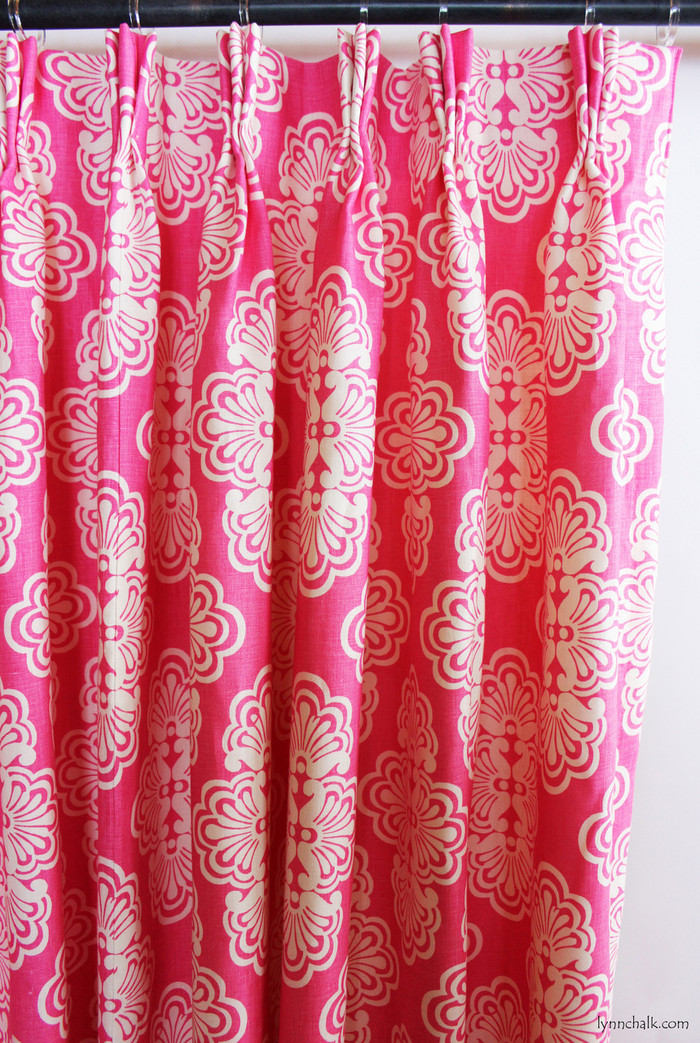Custom Pleated Drapes in Lilly Pulitzer Shell We Hotty Pink