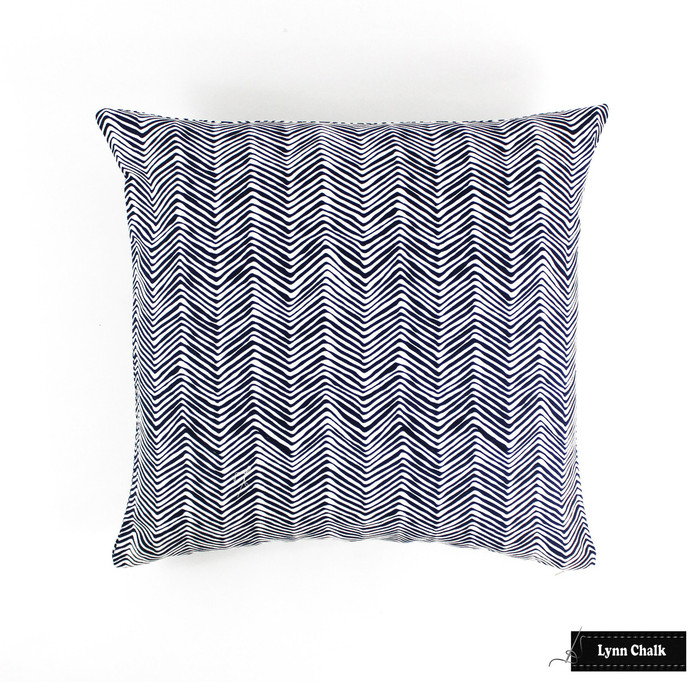 Quadrille Petite Zig Zag Navy on White Pillow 22 X 22 Lynn Chalk lc