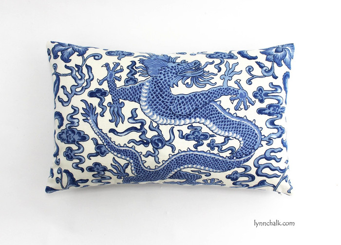 14 X 22 Pillow in Chi'en Dragon in Blue on White