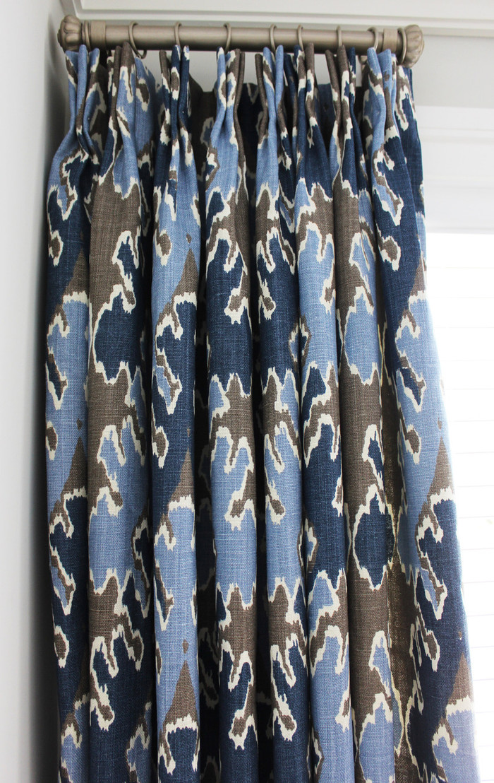 Custom Drapes by Lynn Chalk in Kelly Wearstler Bengal Bazaar Grey Indigo