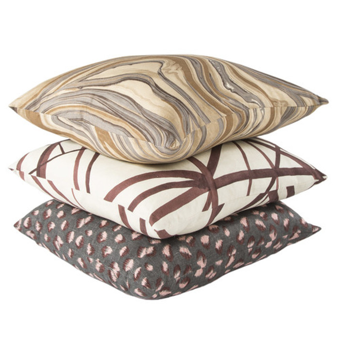 Kelly Wearstler Pillows - From top Barcelo Truffle, Channels Plum and Feline Graphite Rose