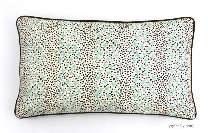 Custom 14 X 24 Pillows in Quadrille Jacks II Green Brown Dots on Tint with welting in Robert Allen Kilrush II Java