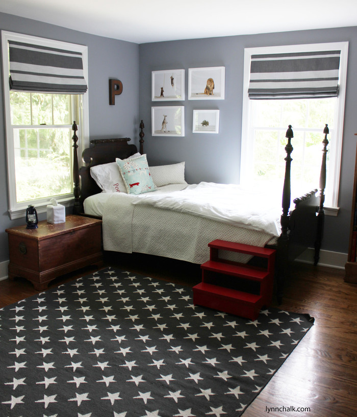Boys Room - Perennials Little Big Stripe Roman Shades (Shown in Flint-comes in several colors)