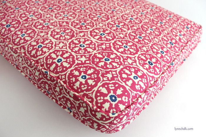 Custom Cushion in Quadrille Nitik II Magenta with New Navy 149-34 (Cushion 48 X 19 with self welting)