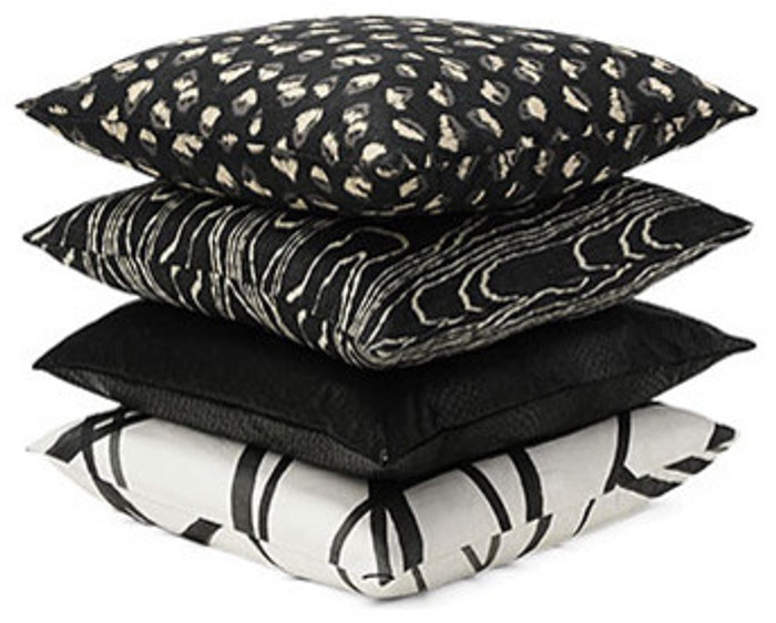 Kelly Wearstler Pillows from top to bottom, Feline, Agate, Serpent and Channels
