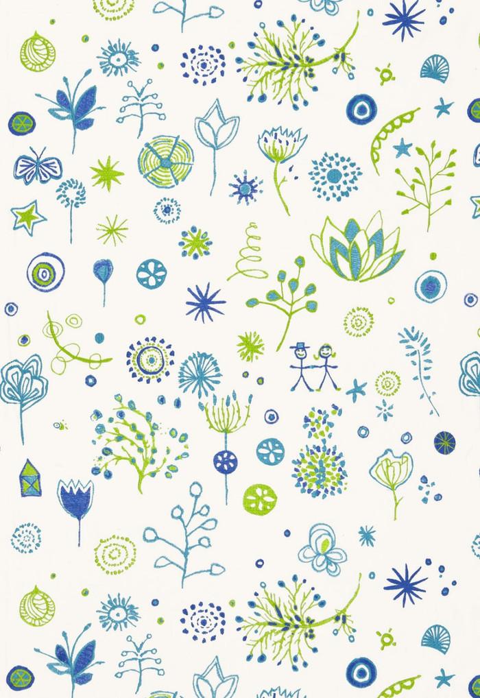 66241 Lulu DK Fabric Lollipop Turquoise Leaf