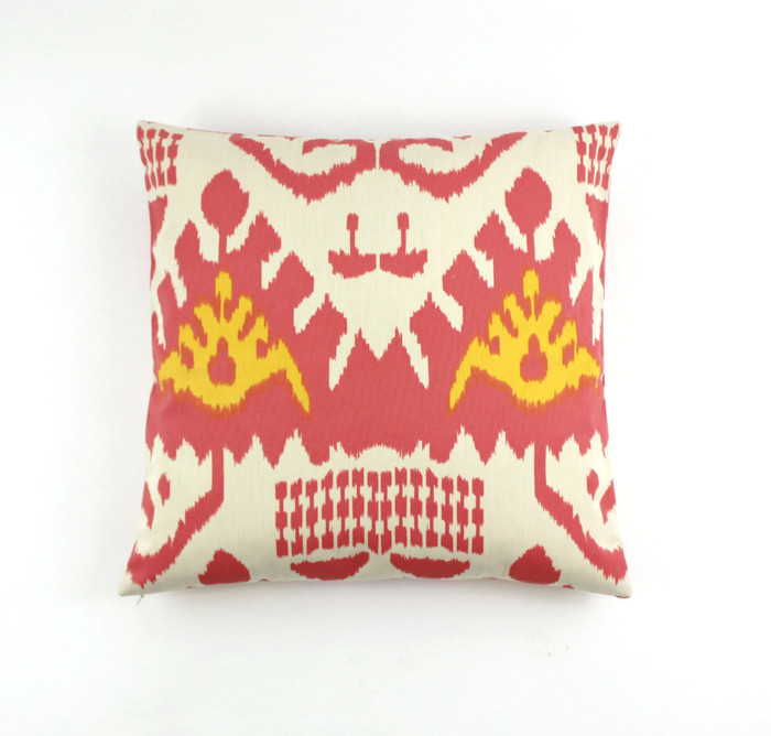 ON SALE Quadrille Kazak Custom Pillow in Coral/New Yellow Linen/Cotton 22 X 22