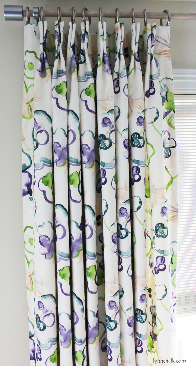 Butterfly Pleated Double Width Drapes in Vervain Santenay Orchid