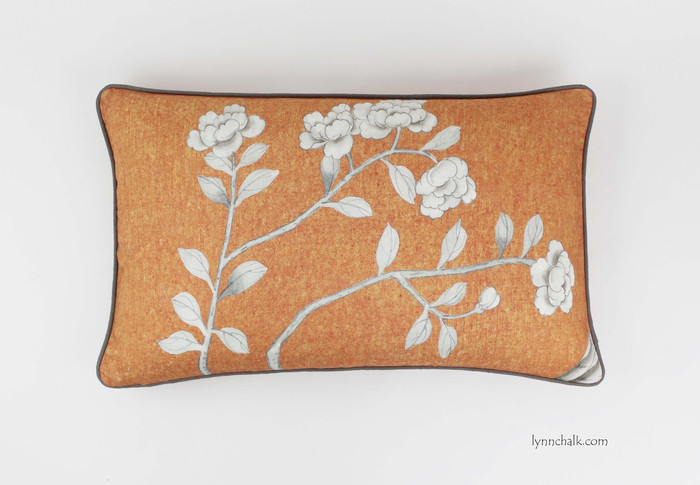 Chinois Palais Pillow in Tangerine with Taupe Welting (16 X 26)