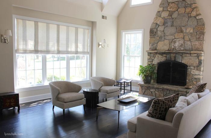 Living Room - Cowtan & Tout Faroe Beige Stripe Roman Shade and Larsen Metropolitan Gunmetal Pillows (Designed by Brian Numme)