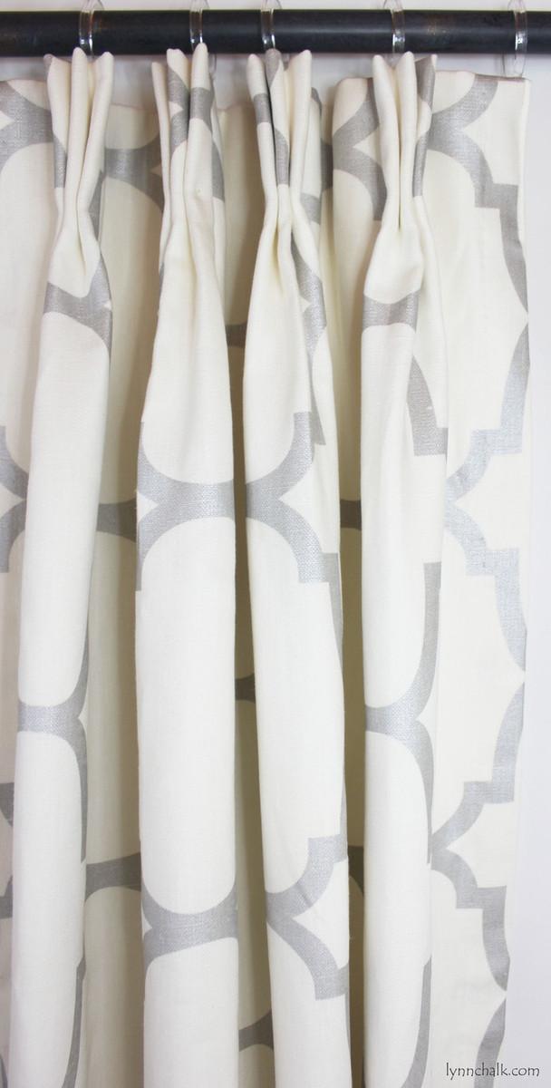 Custom Drapes in Riad in Pearl Silver