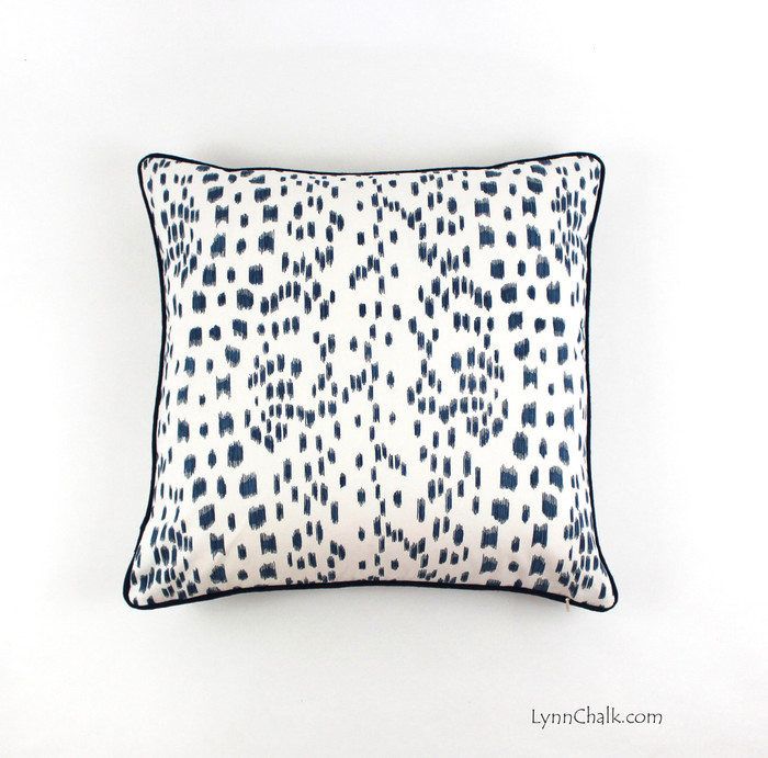 ON SALE Brunschwig & Fils/Lee Jofa Les Touches Pillows in Blue with Contrasting Navy Welting (20 X 20) Only 1 Remaining