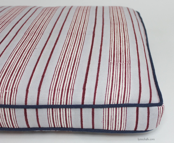 Cushion in John Robshaw Vintage Stripe in Oyster with Navy Welting