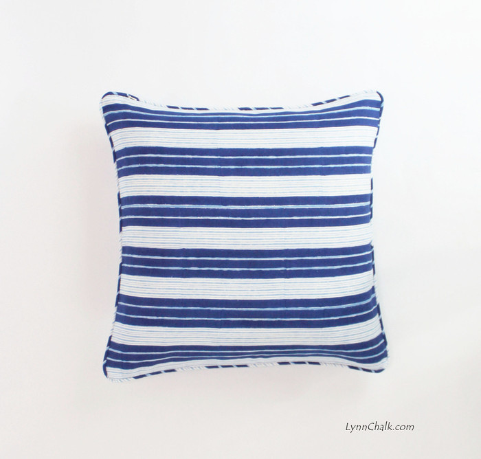 Pillow in John Robshaw Vintage Stripe Indigo with Self Welting (20 X 20)
