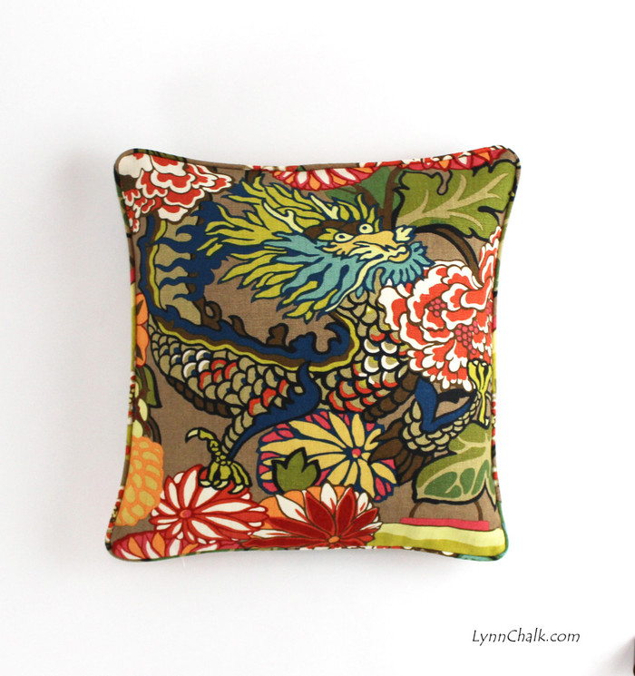 ON SALE Schumacher Chiang Mai Dragon Pillow with self welting in Mocha (18 X 18)-Only 2 Pillows Remaining at this Sale Price