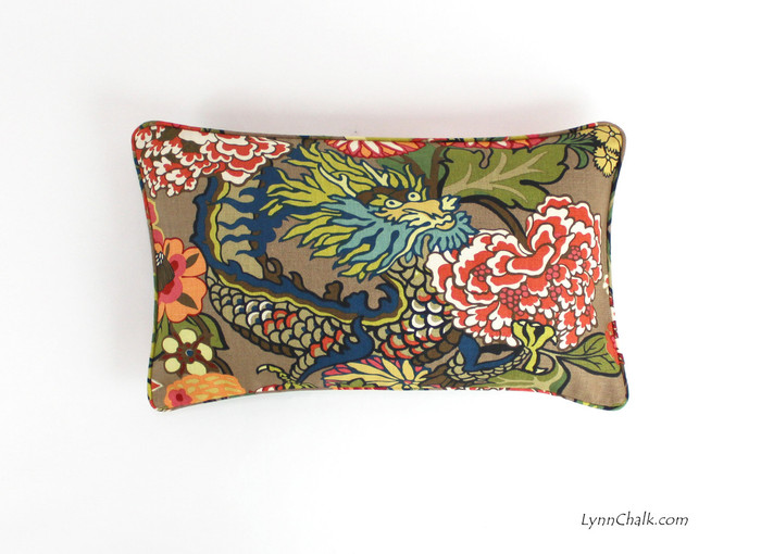 ON SALE Schumacher Chiang Mai Dragon Pillow with self welting in Mocha (12 X 20)