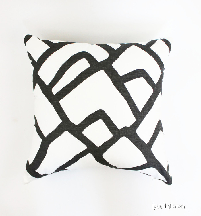 ON SALE Schumacher Zimba Custom 24 X 24 Pillows in Charcoal with Natural Linen Back