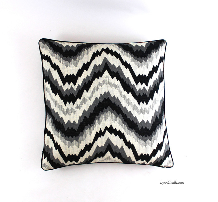 Pillow in Flair Noir with Black Welting (24 X 24)