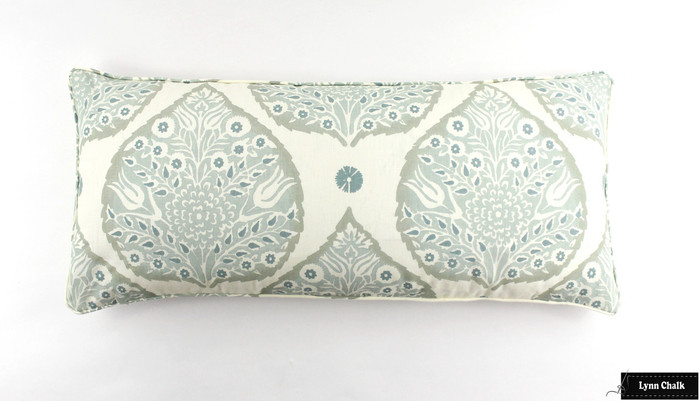 Galbraith & Paul Lotus Pillow with Self Welting (Shown 16 X 36 in Mineral on Cream-comes in many colors)