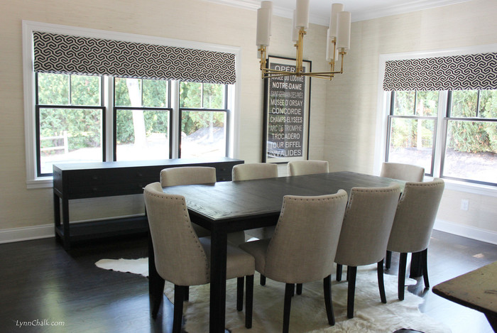 Schumacher Ming Fret Noir Dining Room Roman Shades (shown In Noir Comes In  6 Colors)