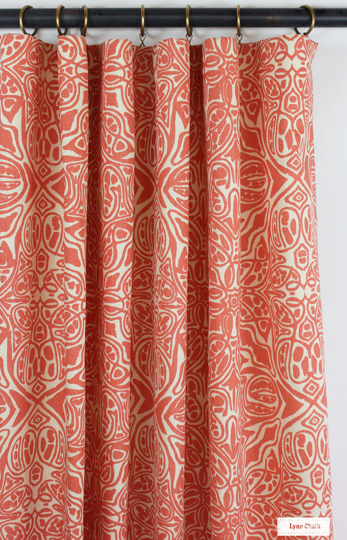 Drapes in Quadrille San Michele Rosso on Beige 302260F