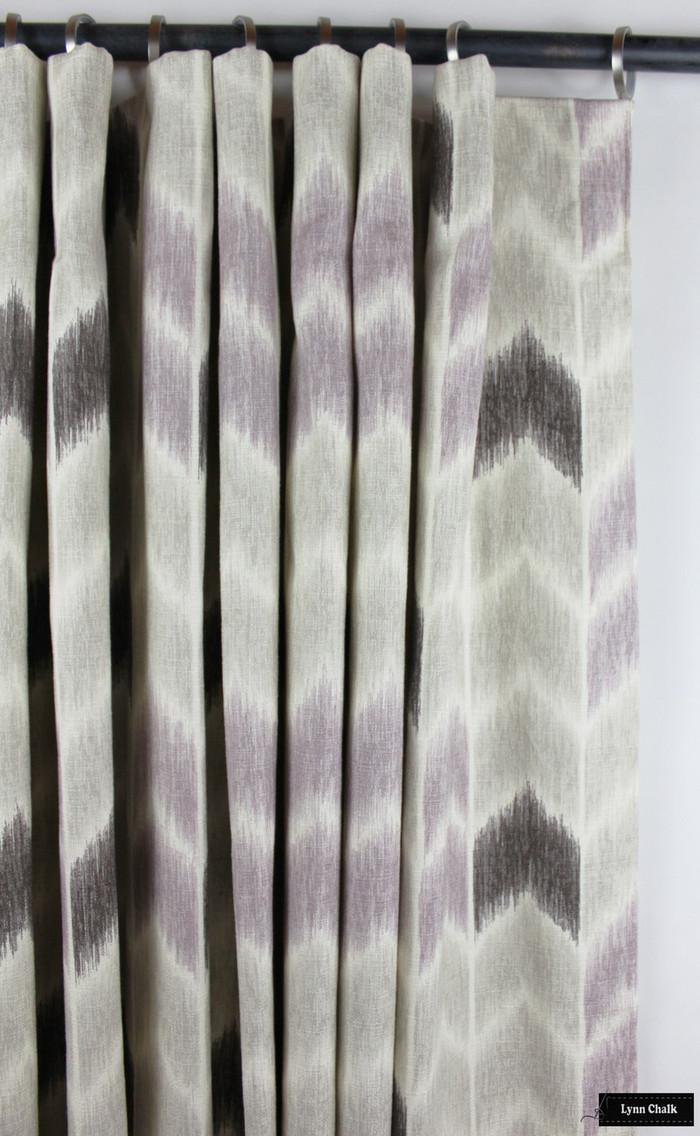 Custom Drapes with Cartridge Pleats in Fabricut Noho Lavender