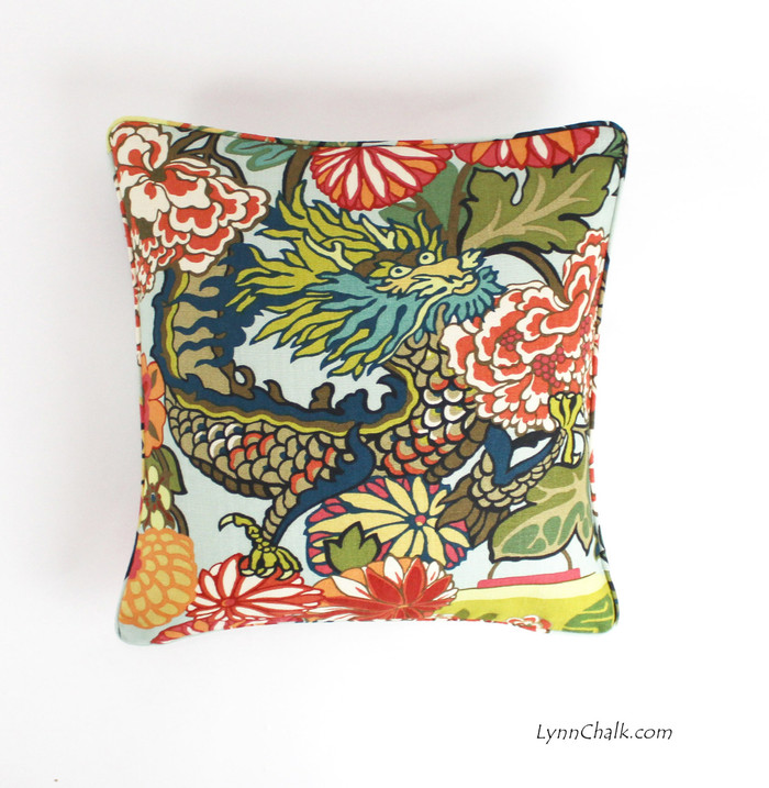 ON SALE Schumacher Chiang Mai Dragon Pillow with self welting in Aquamarine (18 X 18) - There are 2 pillows remaining at this sale price.