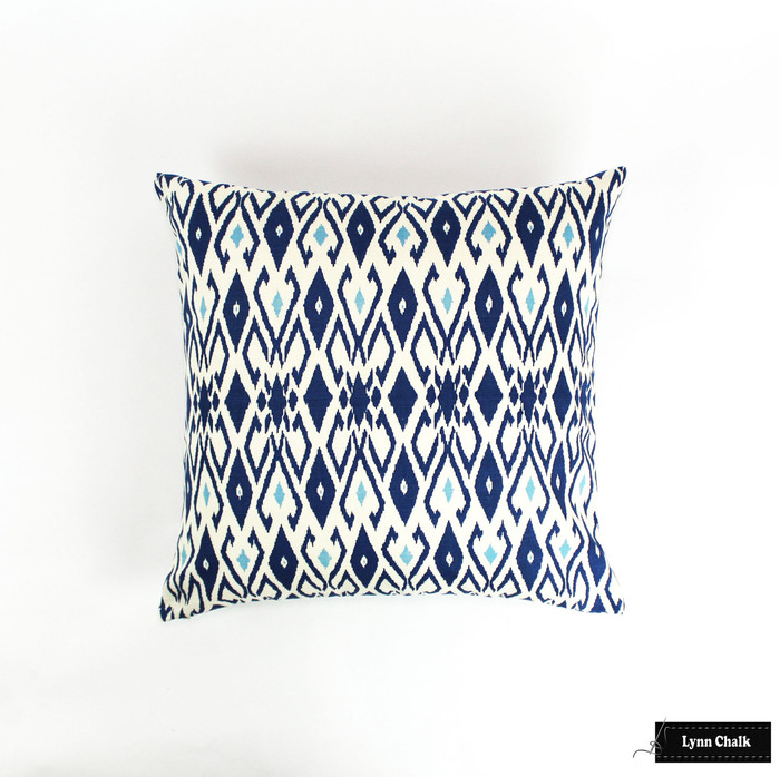 Quadrille Lockan Pillows in Navy/Blue on Tint (22 X 22)