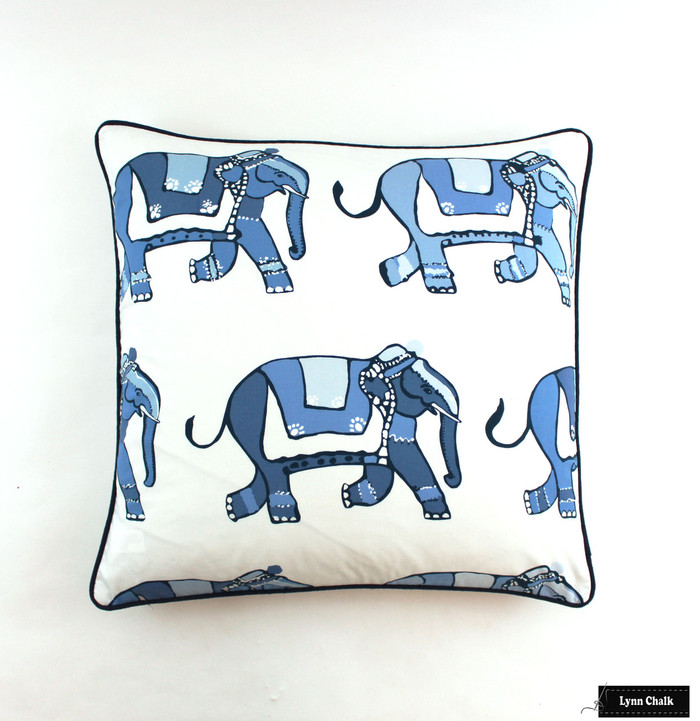 Pillows in Parade with Navy Welting (24 X 24)