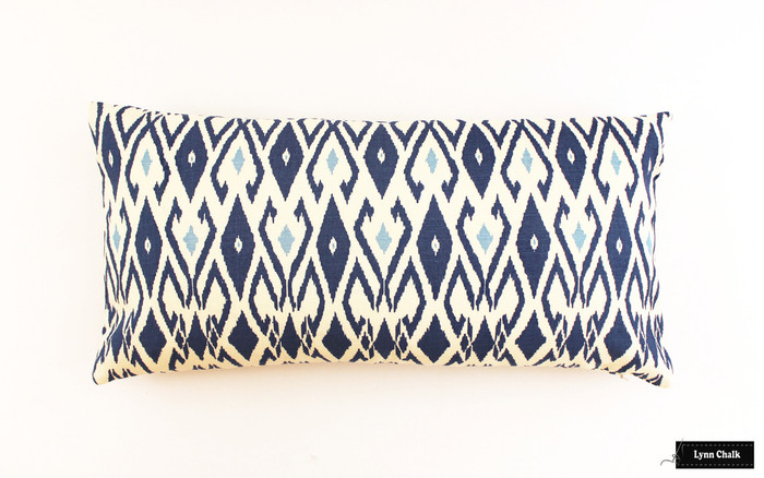 Quadrille Lockan Pillows in Navy/Blue on Tint (12 X 24)