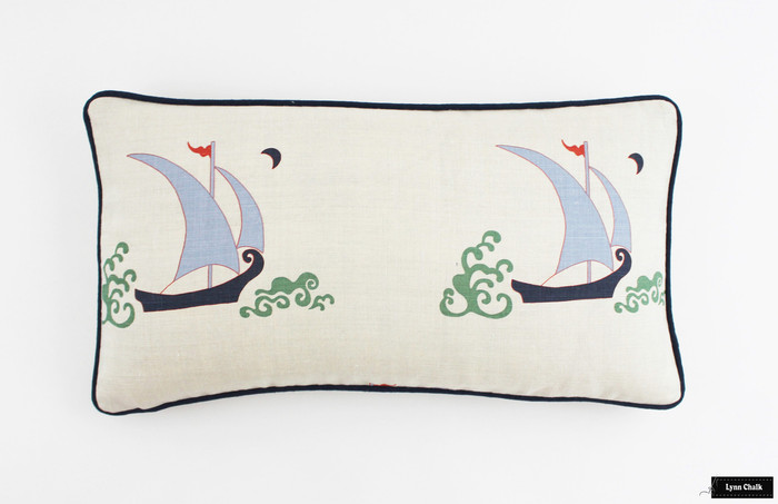 Katie Ridder Beetlecat Pillows 12 X 22 in Lavender Blue with Navy Welting (also comes in Ultramarine and Apricot)