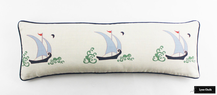 Katie Ridder Beetlecat Pillows 12 X 36 in Lavender Blue with Navy Welting (Front in Beetlecat - Back in Natural Linen)