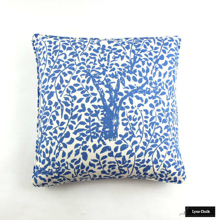 Custom Pillows in Quadrille Arbre De Matisse China Blue (22 X 22)
