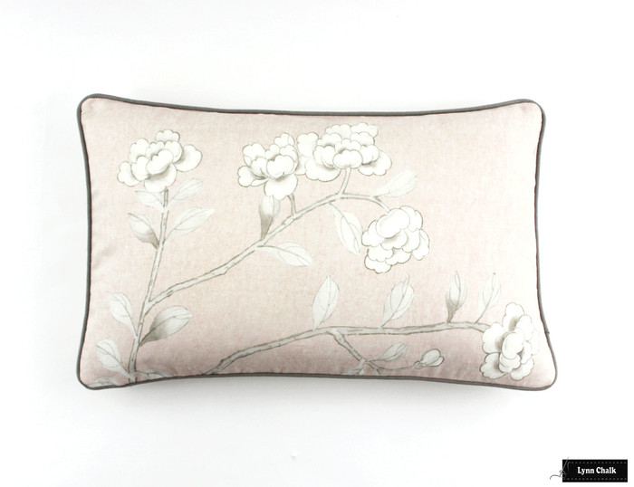 ON SALE Schumacher Mary McDonald Chinois Palais Pillow in Blush Conch with Grey Welting (Both Sides-14 X 22) Only 2 Pillows Remaining at this Sale Price.
