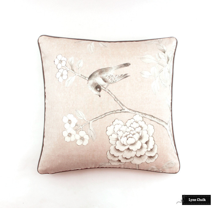 ON SALE Schumacher Mary McDonald Chinois Palais Pillows in Blush Conch with Grey Welting (Both Sides-22 X 22) Only 2 Pillows Remaining at this Sale Price.