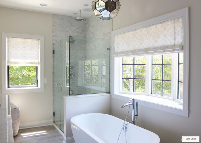 Bathroom Roman Shades in Cecilia in French Grey