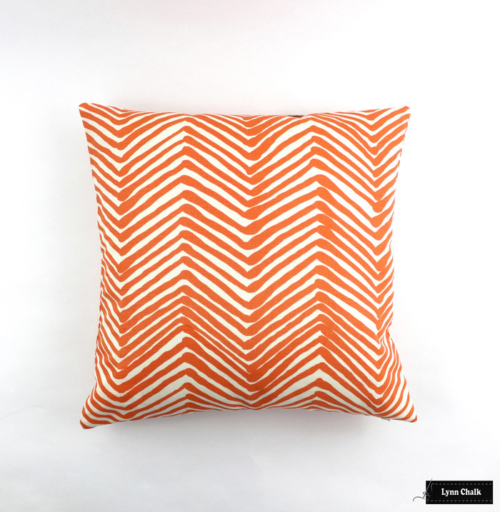 "ON SALE Quadrille Alan Campbell Zig Zag Pillow in Orange on Tint (22"" X 22"") There are only 2 Remaining at this Sale Price"