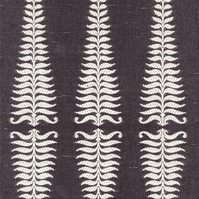 2643881 Schumacher Fern Tree Ivory Grey Flannel