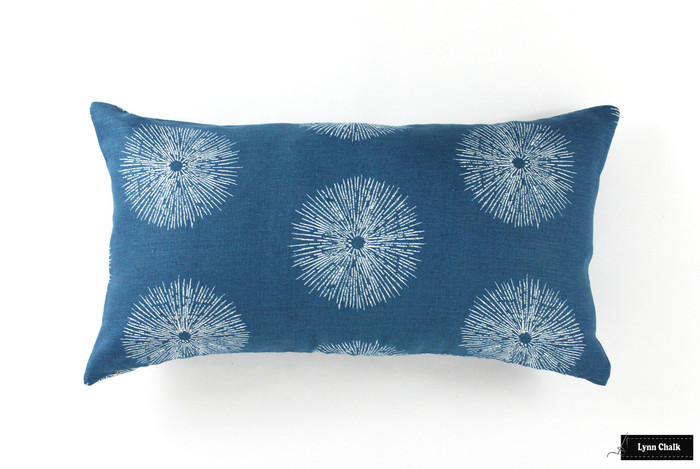 ON SALE Kelly Wearstler Sea Urchin Pillows in Teal/Dove 12 X 22 (Both Sides) There are only 2 Pillows Remaining at This Sale Price