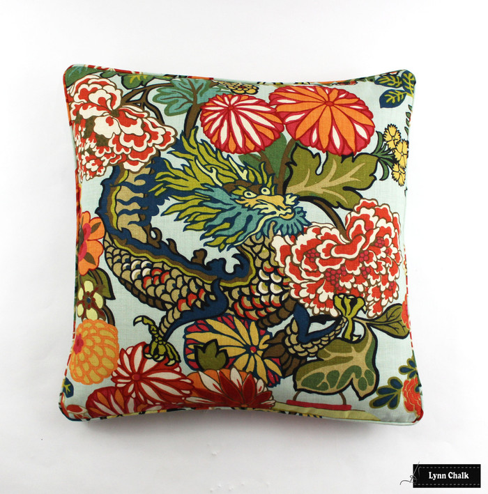 ON SALE Schumacher Chiang Mai Dragon Custom Pillow in Aquamarine with self welting -(Both Sides-24 X 24) Only 2 Pillows Remaining at this Sale Price