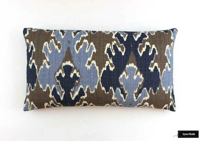 ON SALE Kelly Wearstler Bengal Bazaar in Grey Indigo Pillow (Both Sides-13 X 24) Only 1 Remaining At This Sale Price