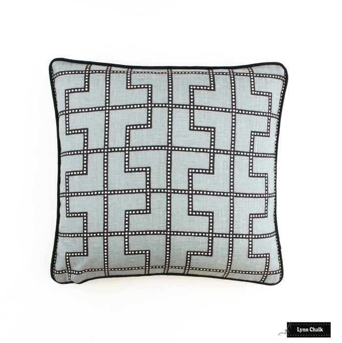 Bleecker in Twilight Pillow with black welting (18 X 18)